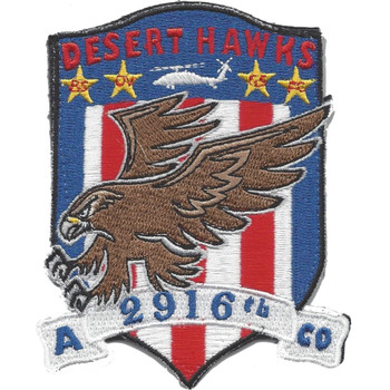 A Company 2916th Aviation Battalion Desert Hawks 4 Stars Patch Hook And Loop