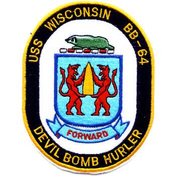 BB-64 USS Wisconsin Patch Devil Bomb Hurler