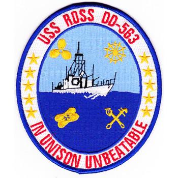 USS Ross DD-563 Destroyer Ship Patch