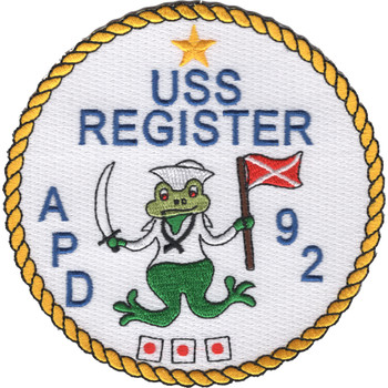 USS Register APD-92 Patch
