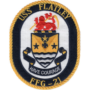 USS Flatley FFG-21 Guided Missile Frigate Ship Patch