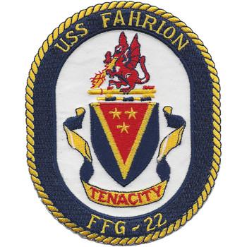USS Fahrion FFG-22 Frigate Ship Patch