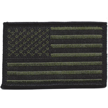 U.S. Flag Black and OD Right Sleeve Patch Hook And Loop