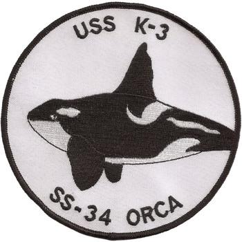 USS K-3 Submarine Renewed USS Orca SS-34 Patch