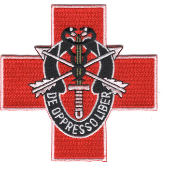 Special Forces Group Medic Red Cross Patch De Oppresso Liber