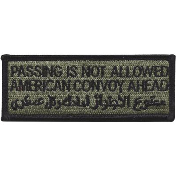 Warning Passing Not Allowed American Convoy Ahead ACU Patch Hook And Loop