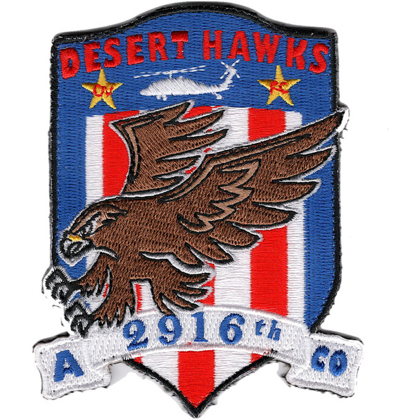 2916th Aviation Battalion A Company 2 Star Patch DESERT HAWKS Hook And Loop