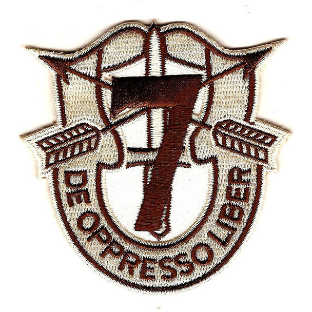 7th Special Forces Group Crest Desert Brown 7 Patch