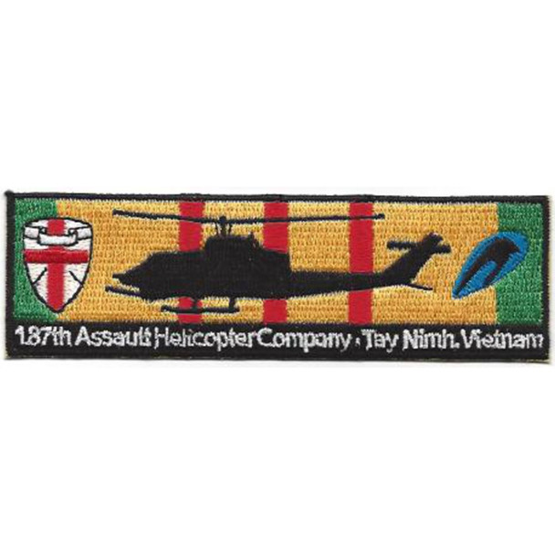 187th Assault Helicopter Company Tay Nimh AH-1 Cobra Silhouette On Vietnam Service Ribbon Patch
