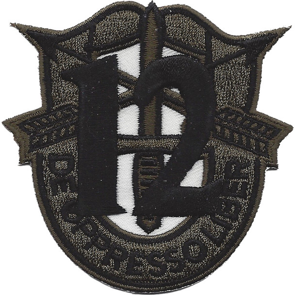 12th Special Forces Group Crest OD Green Black 12 Patch