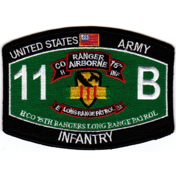 75th Ranger Regiment Headqaurter Company Long Range Patrol Military Occupational Specialty MOS Rating Patch 11 B Infantry