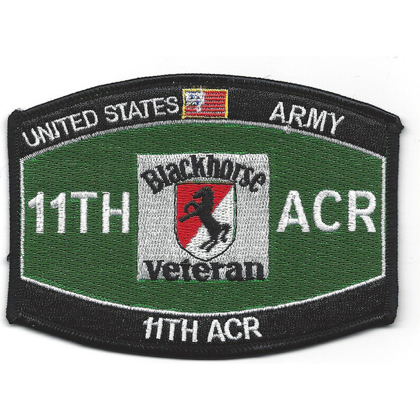 11th ACR MOS Black horse Veteran Patch
