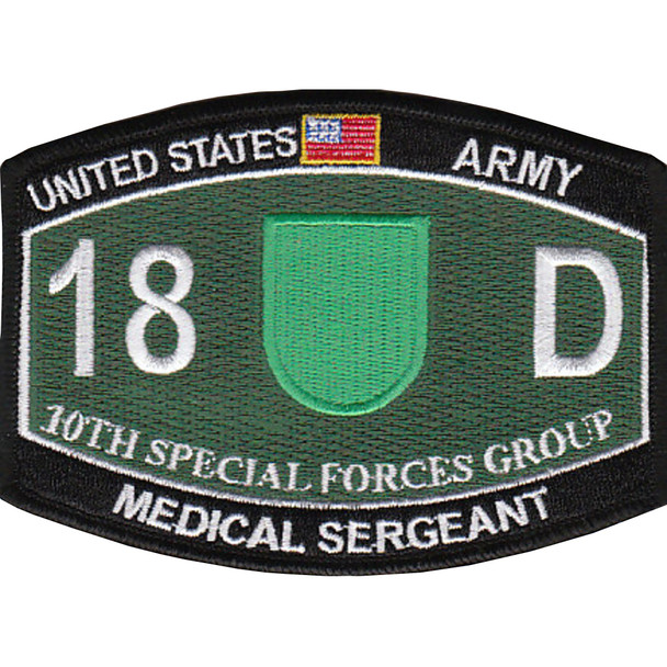 10th Special Forces Group 18D Military Occupational Specialty MOS Patch Medical Sergeant