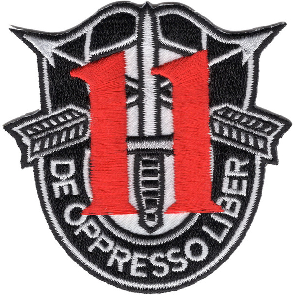11th Special Forces Group Crest Patch Black White Red