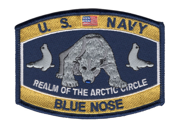 Navy Blue Nose Polar Bear Hat Patch