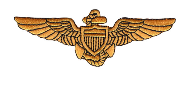 Naval Aviator Pilot Wings Patch Gold