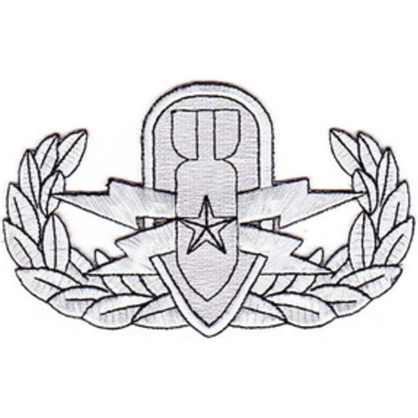EOD Explosive Ordnance Disposal Senior Badge Silver Patch