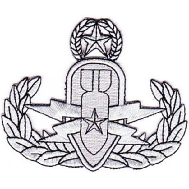 Eod Explosive Ordnance Disposal Master Badge Silver Patch