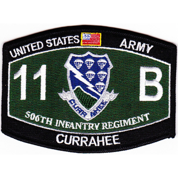 506th Airborne Infantry Regiment Military Occupational Specialty MOS Rating Patch 11 B Currahee