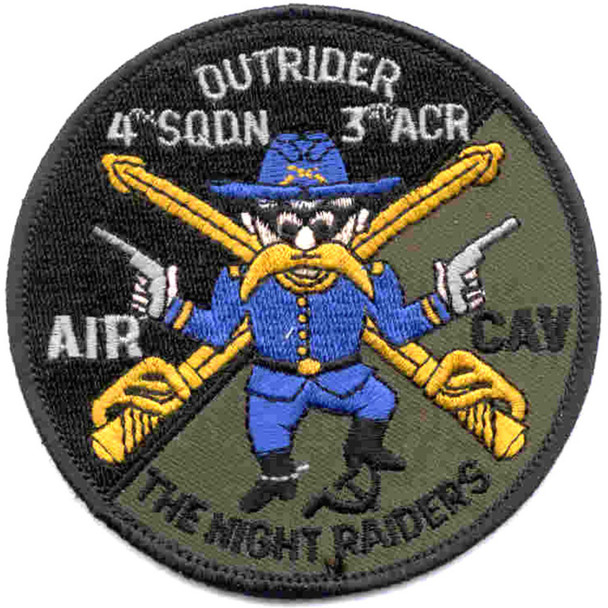 4th Sqaudron 3rd Aviation Cavalry Regiment Patch Outrider OD