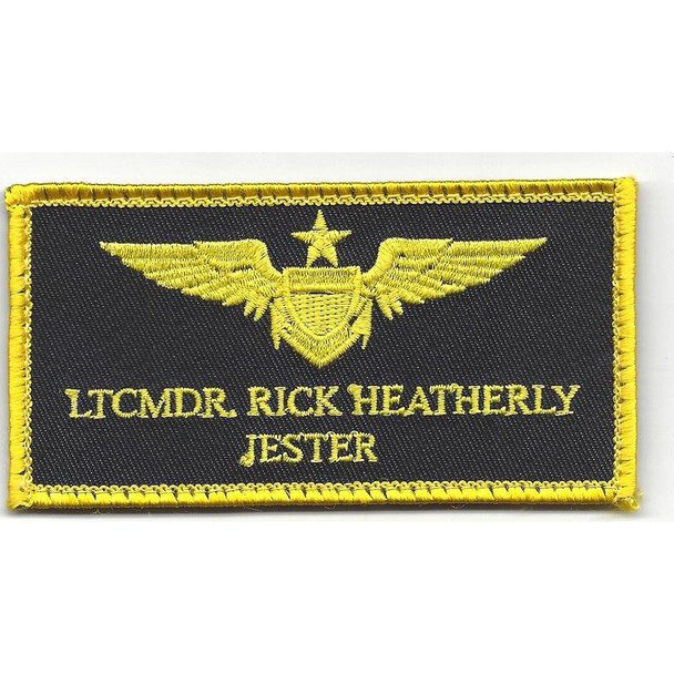 Aviation Pilot Black Wings Yellow Jester Patch Hook And Loop
