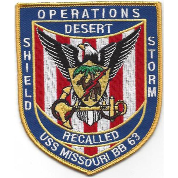 BB-63 USS Missouri Operation Desert Storm and Desert Shield Patch