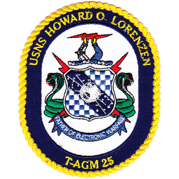 USNS Howard O. Lorenzen  T-AGM 25 Missile Range Instrumentation Ship Patch