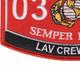0313 Light Armored Vehicle (LAV) Crewman MOS Patch | Lower Left Quadrant