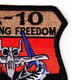 Fairchild Republic A-10 Thunderbolt II Patch Enduring Freedom   Upper Right Quadrant