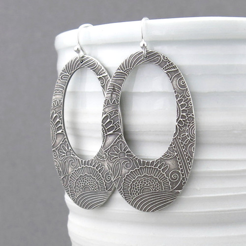 Boho Hoop Earrings - Fine and Sterling Silver - Statement Jewelry