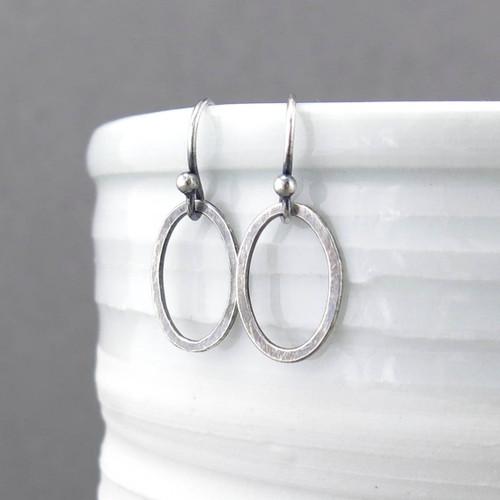 Tiny Silver Earrings - Single Oval - Aubrey Earrings