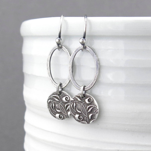 Adorned Aubrey Earrings - Single Oval with Rose Drop - Sterling Silver