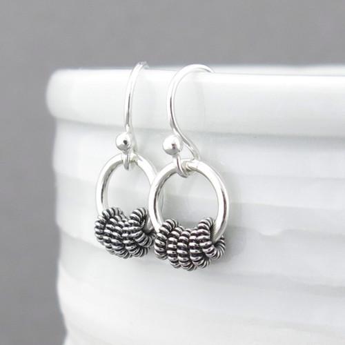 Tiny Hoop Earrings - Sterling Silver - Coil Hoops