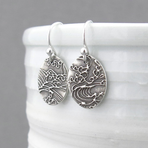Tiny Oval Earrings - Turbulent Waters