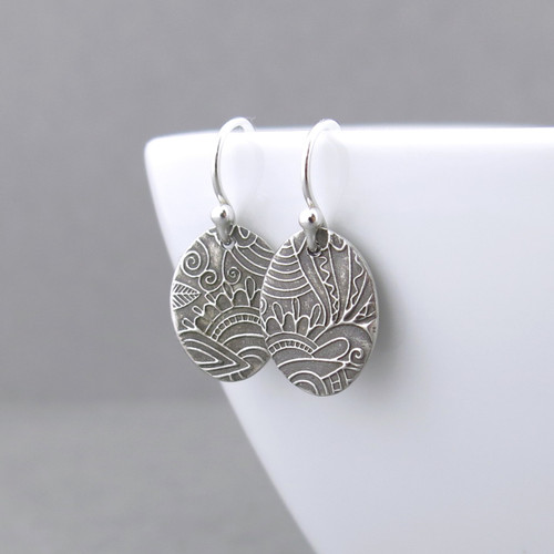 Tiny Oval Earrings - Sunflower Meadow