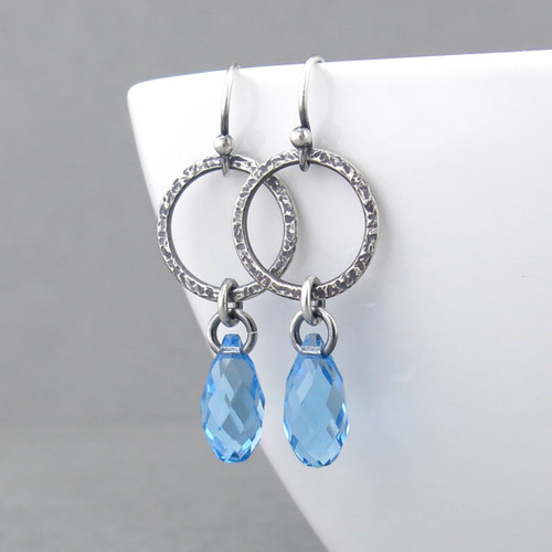 Annabelle Earrings - Aquamarine Crystal and Sterling Silver