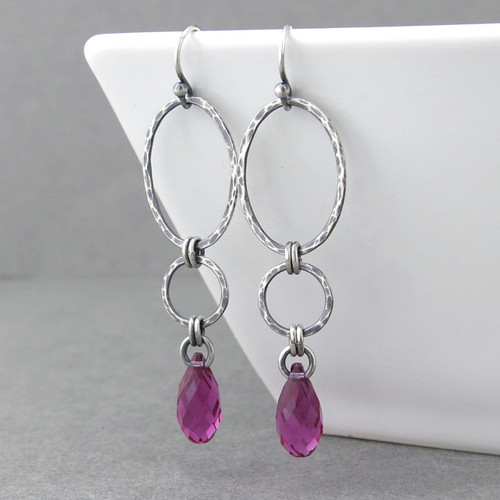 Adorned Aubrey Earrings - Fuchsia Crystal and Sterling Silver