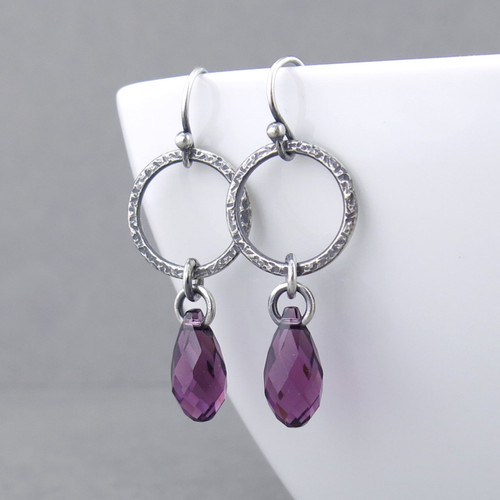 Annabelle Earrings - Amethyst Crystal and Sterling Silver