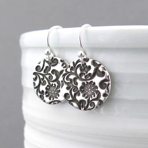 Bold Flower & Vines Earrings - Unique Petite