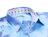 This one-of-a-kind lightweight short sleeve shirt will bring a smile to anyone's face! Featuring a happy tie-dye print in brilliant hues of blue, it is absolutely perfect for those hot summer days. Inside the collar and along the hidden front placket is a cheerful multicolor check contrast. Wear it with your most comfortable pair of shorts to the beach or a barbecue.        100% Cotton  Slightly Tapered  Machine or hand wash cold. Hang to dry, light iron. Dry Clean.