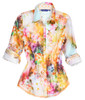 Treat yourself to some fun!  A rainbow of beautiful colors is the best way to describe this stunning blouse.  Made of the finest imported European 100% cotton.  This lovely print is embellish by a companion small Yellow print on the inside collar stand and cuffs.  It is also finished off with a double zig-zag stitching........and an artful subdue sequin trim under the collar stand.