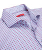 Classic and carefree........comfortable and clean!!  This small Red and Blue print is great with any jean or white pant.  Our fine Imported European fabric is 100% cotton for that cool, crisp look that always is so attractive and easy to wear.  We have embellished the collar stand and cuffs when rolled,in a companion fabric of a soft blue and white pattern.  Great for the warm weather ahead and a shirt for any occasion. 100% Cotton