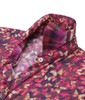 Beautiful and soft is this jewel of a multi color butterfly print. Luscious shades of pinks and burgundy are complimented with a coordinating plaid inside the collar and cuffs. The fantastic collar treatment of a bow on one side frames the face with elegance.  Silk & Cotton blend