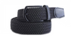 Black Jet with (Black Buckle) stretch Belt for Jeans or sporty. (Golf)   What size belt should I get? If you pant is size 32 you should get belt size 34 If you pant is size 34 you should get belt size 36 and so on...