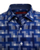 A very special and unique fabric woven in blues and grays make this shirt a Georg Roth signature classic print. Detailed to perfection with a coordinating blue tone on tone pattern in the collar stand, cuffs and inner front placket. The collar sits perfect with the hidden button down. Business or casual you will enjoy this ever so sophisticated shirt paired with your denim, grays or khakis.   100% Pima Woven Cotton  1 Breast pocket  Machine wash cold hang to dry or dry clean