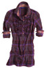 Purple & magenta plaid tunic. Detailed with ruffle front. Contrasted with a Liberty of London multicolor mini square print inside the collar, cuffs and on buttons. All seams done to perfection with contrast stitching in magenta.