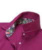 So soft & comfy - this sensational magenta stretch long sleeve blouse is detailed with a Liberty of London multicolor floral contrast inside the collar stand & cuffs. All seams are finished with contrast stitching in white.  69% Cotton, 27% Polyamide, 4% Spandex