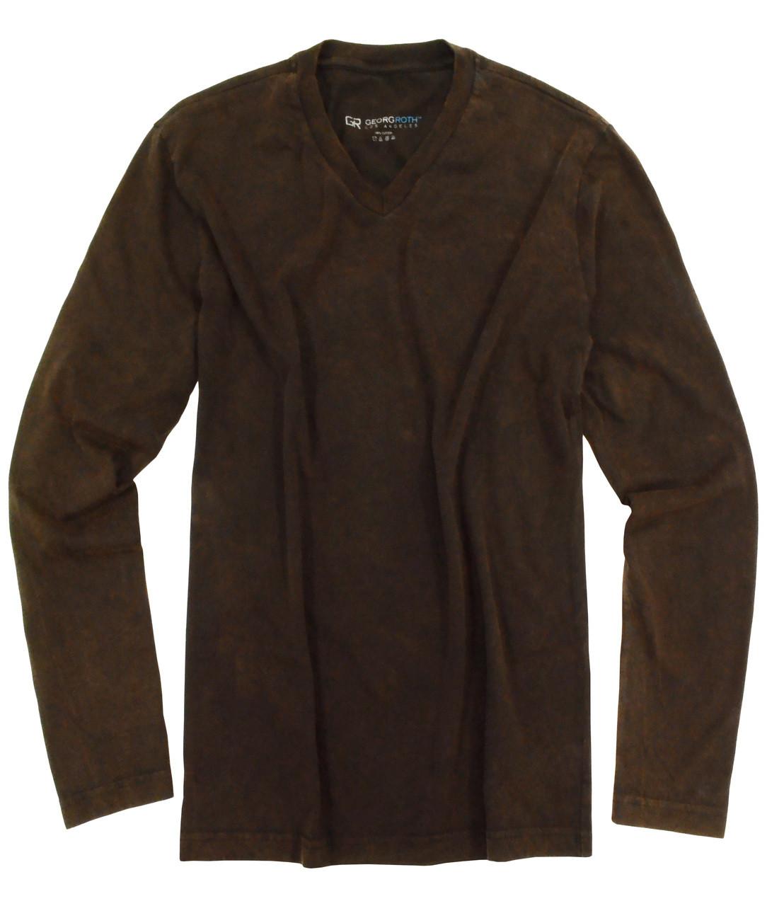 ecf44c91 Luxury V-Neck Long Sleeve Pima Cotton Mens T-Shirt Garment Dyed brown  TVLS-8014