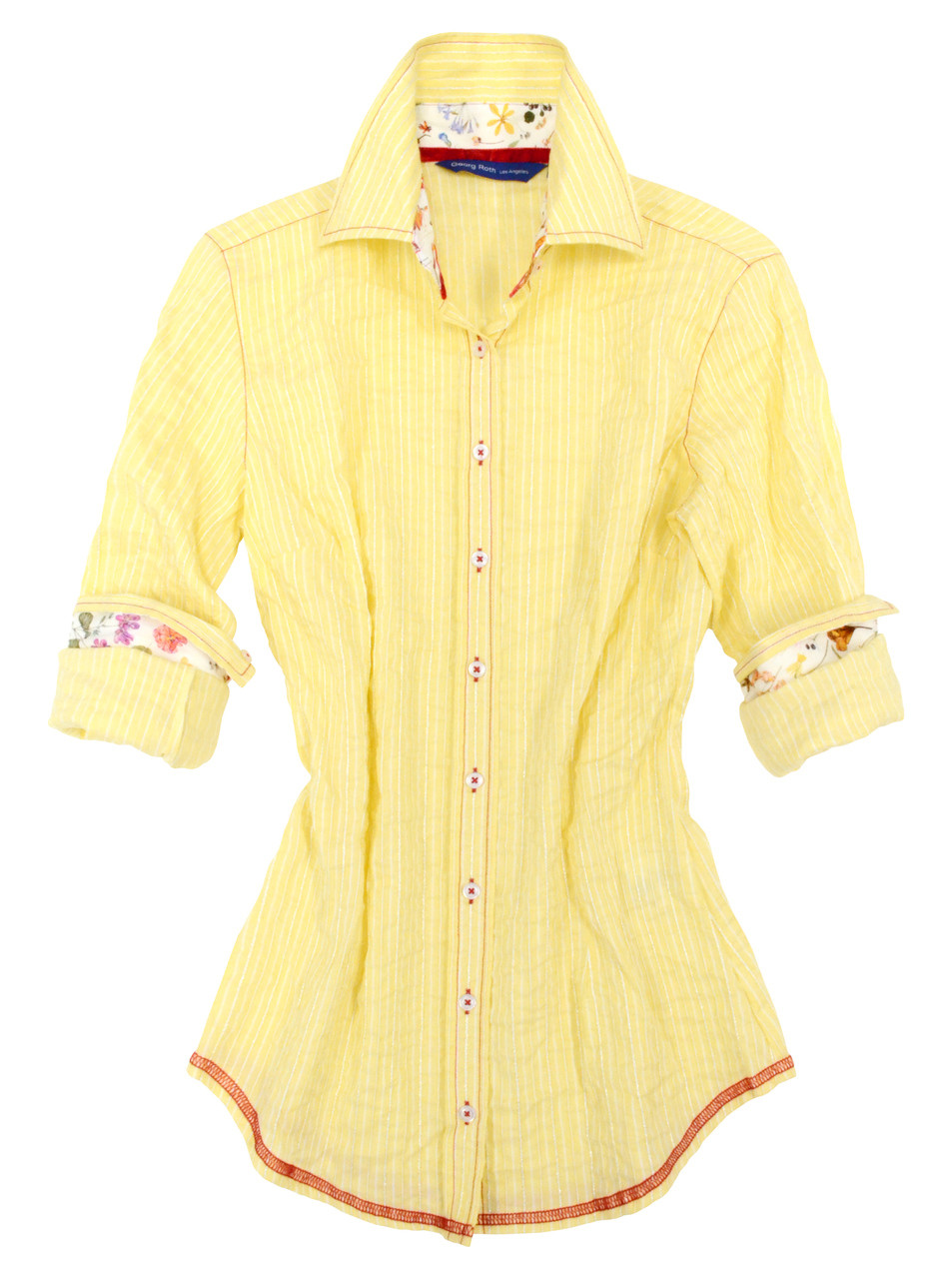 8f35efb29ca Yellow and white-metallic stripe. Contrasted with a Liberty of London  multicolor floral print