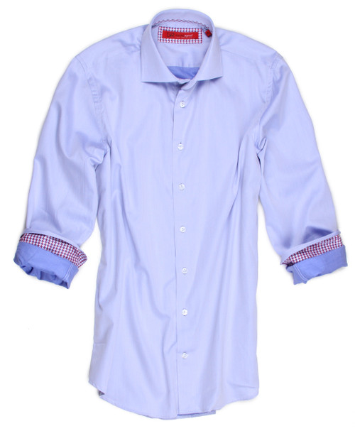 """You will absolutely feel like a """"million"""" in this beautiful light french blue 100% woven cotton shirt.  The roll up cuffs are trimmed in a small hounds tooth pattern of berry and blue.  To complete this very handsome look, the inside collar and placket are also in the hounds tooth.  A perfect look for this spring-summer season.  You can proudly go anywhere in this smart, cool, clean look"""